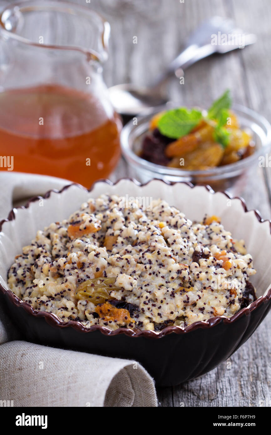 Russian traditional dish Kutia made from wheat with dried fruit - Stock Image