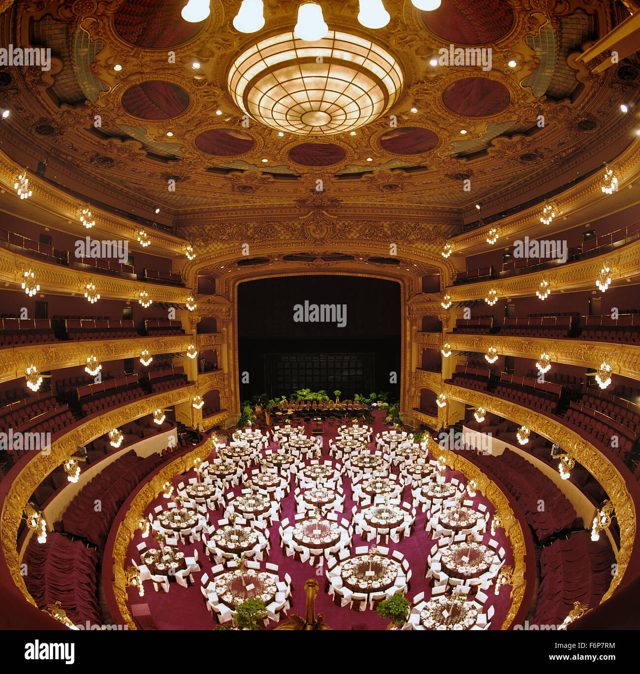 Gran Teatre del Liceu, Barcelona Opera House. Before a celebration banquet. - Stock Image