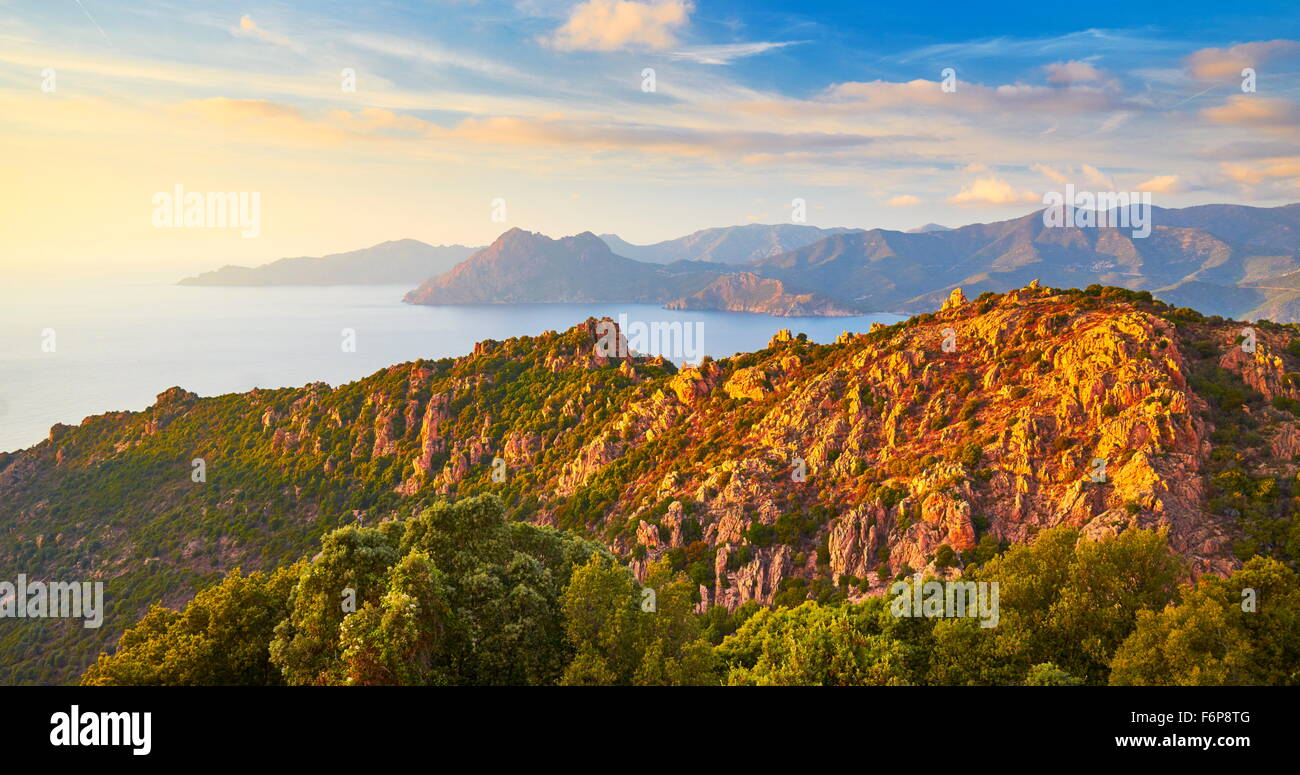 Les Calanches, volcanic red rocks formations mountains, Piana, Corsica Island, France, UNESCO - Stock Image