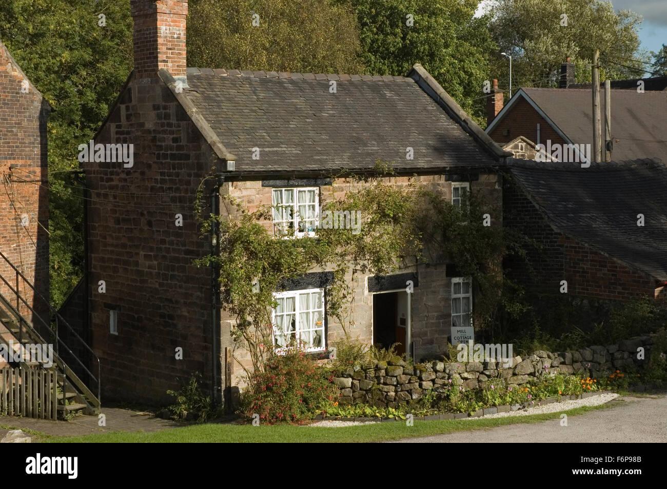 Period Cottage, Cheddleton Flint Mill, Cheddleton, Stoke-on-Trent, Staffordshire, England, UK, Europe. museum - Stock Image