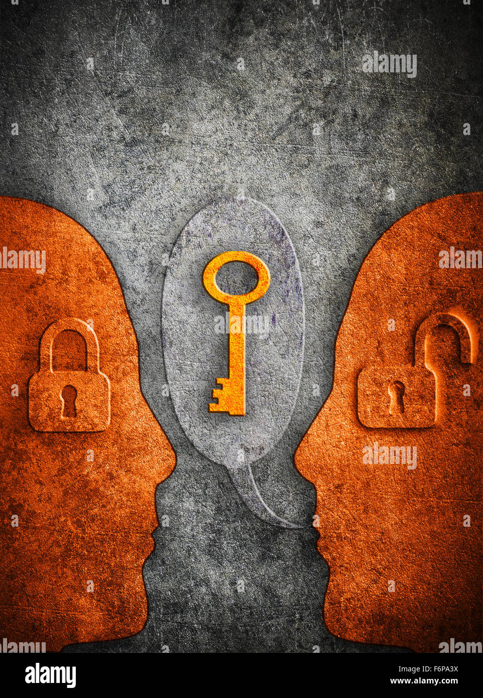 knowledge digital illustration concept with human silhouette padlocks  and copy space - Stock Image