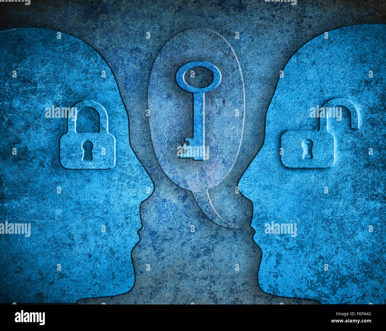 knowledge digital illustration concept with human silhouette padlocks and kay - Stock Image