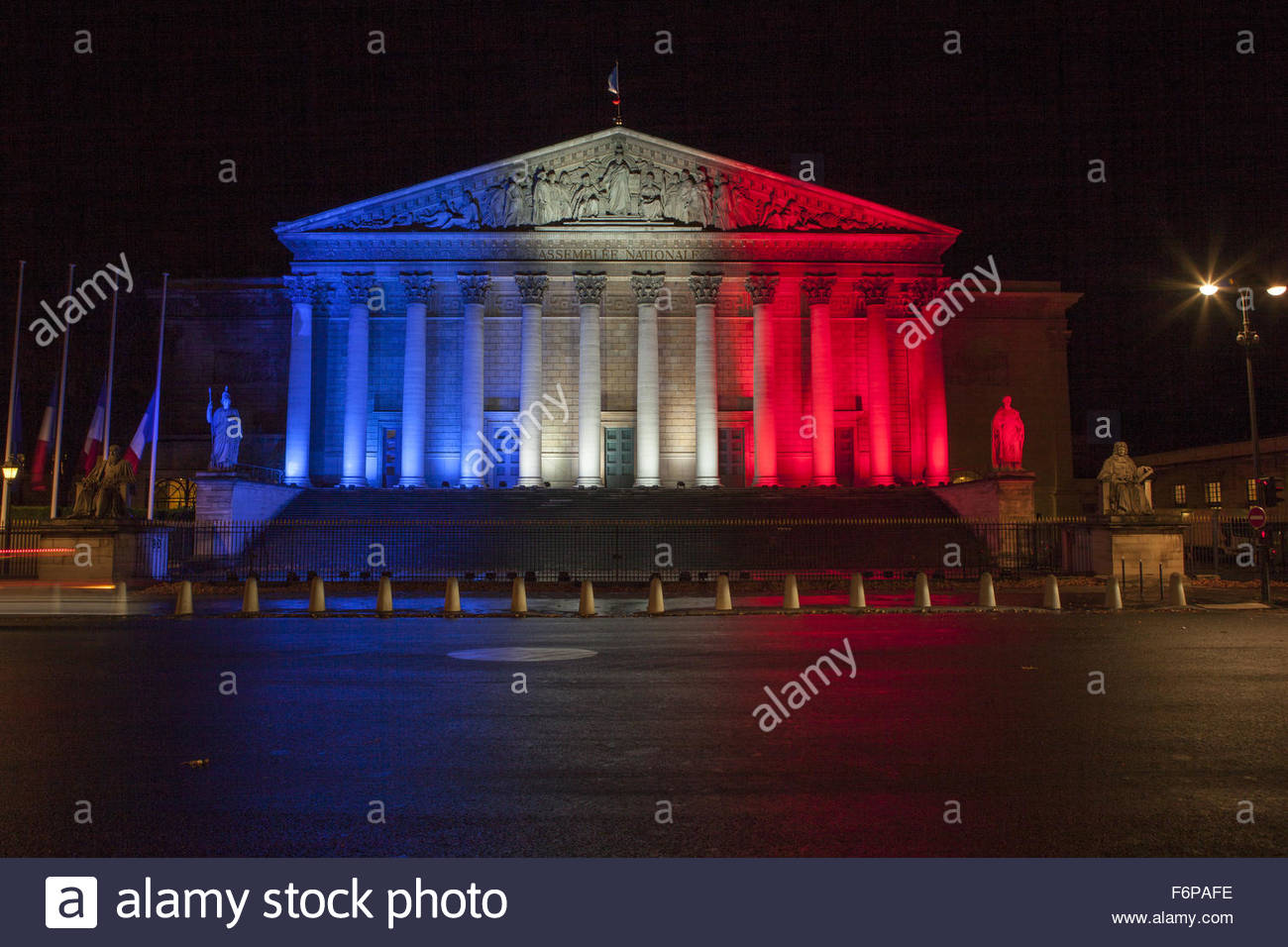 Paris, France. November 18th, 2015. FRANCE, Paris: National Assembly is seen illuminated with the colors of French - Stock Image