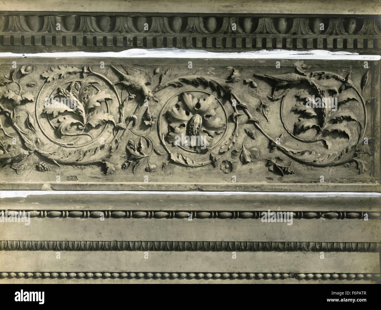 Frieze of a fireplace, Palazzo Ducale, Urbino, Italy - Stock Image