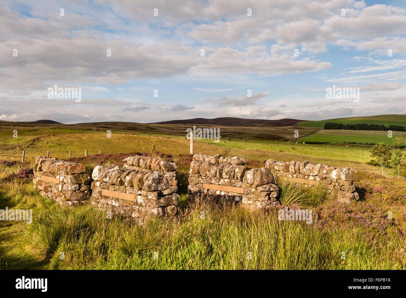 Little Sparta, Scotland. The garden created by the artist Ian Hamilton Finlay. 'Little Fields, Long Horizons' - Stock Image