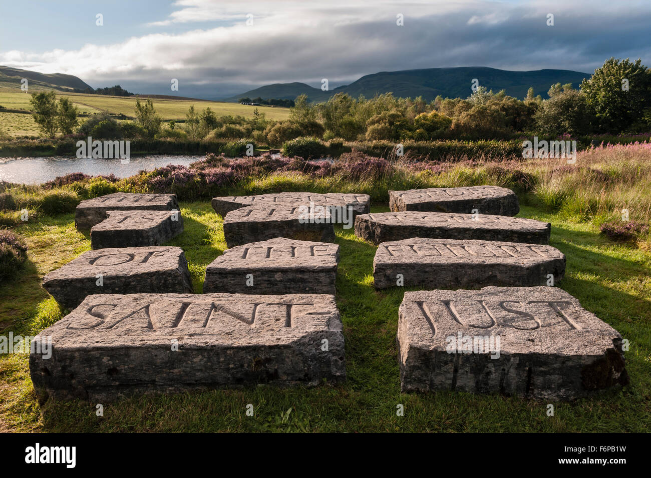 Little Sparta, Scotland. The garden created by the artist Ian Hamilton Finlay in the Pentland Hills. Quotation from - Stock Image
