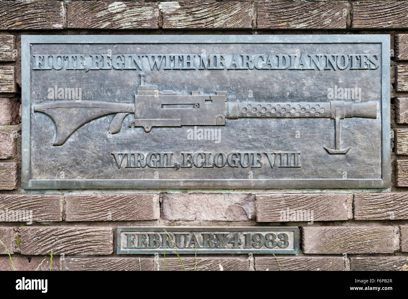 Little Sparta, Scotland. The garden created by the artist Ian Hamilton Finlay. The Monument to the First Battle - Stock Image