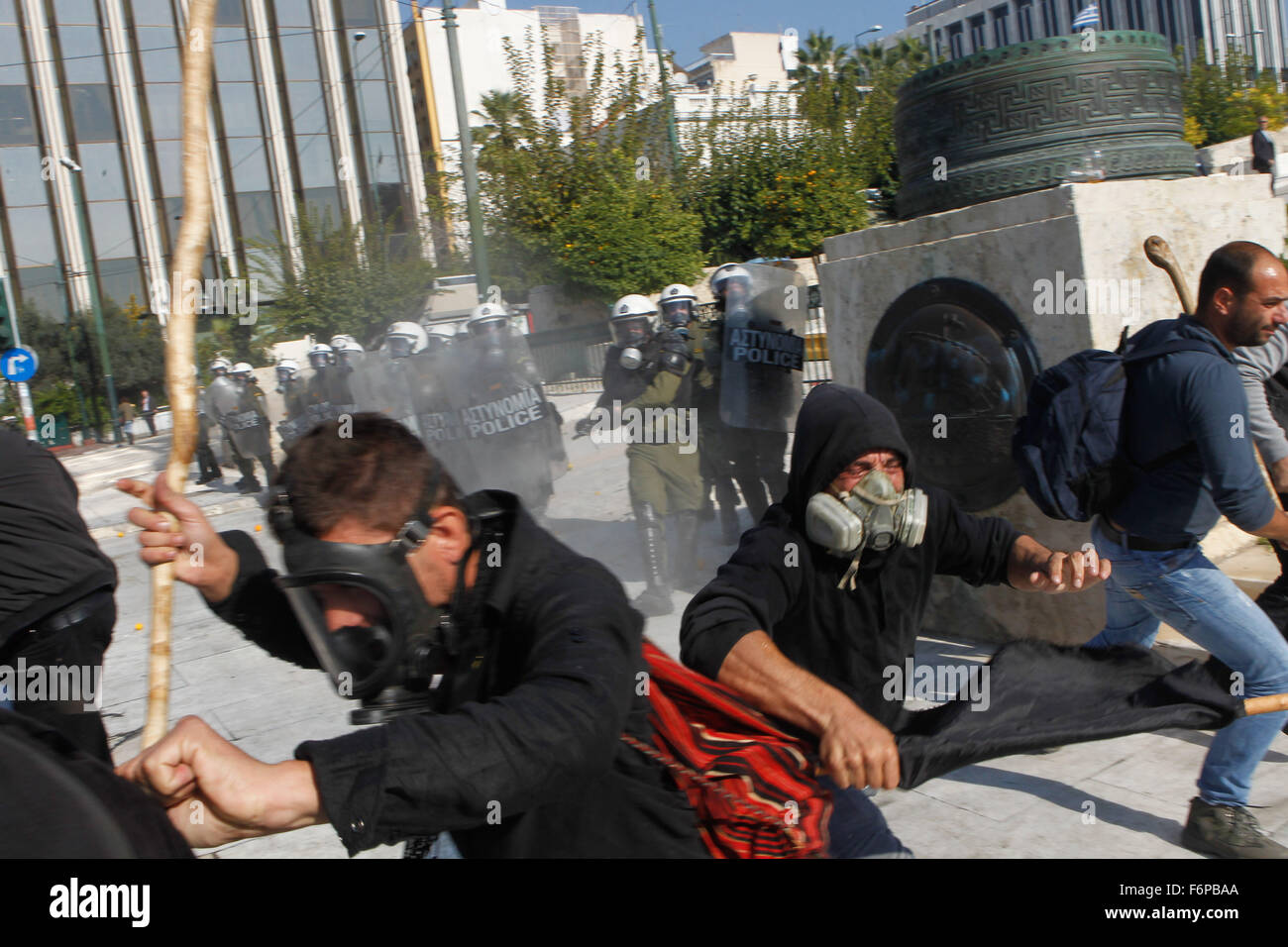 Athens Greece 18 November 2015. Greek farmers protesting over planned tax and pension reforms demanded by the country's - Stock Image