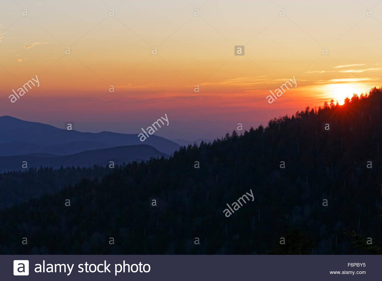 Sunset in Great Smoky Mountains National Park. - Stock Image