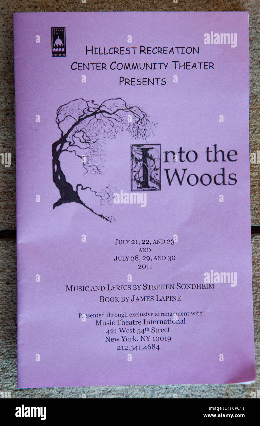 Program for Into the Woods theatrical play. - Stock Image