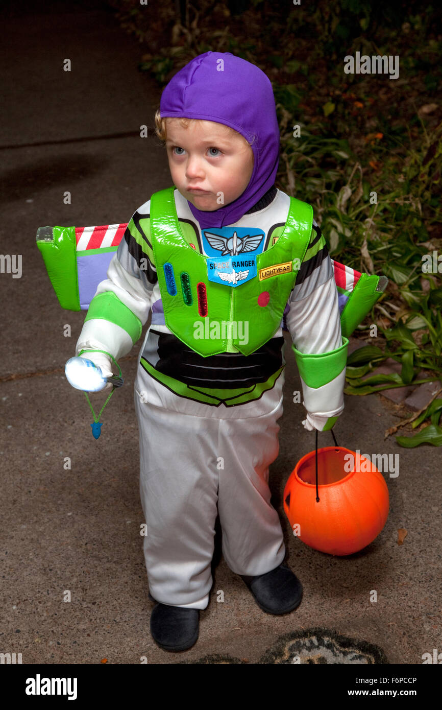 Young Boy In Buzz Lightyear Halloween Trick Or Treater ...