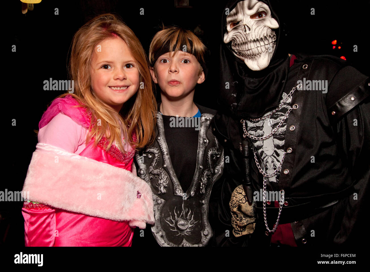 Costumed Halloween goblins out trick and treating. St Paul Minnesota MN USA - Stock Image