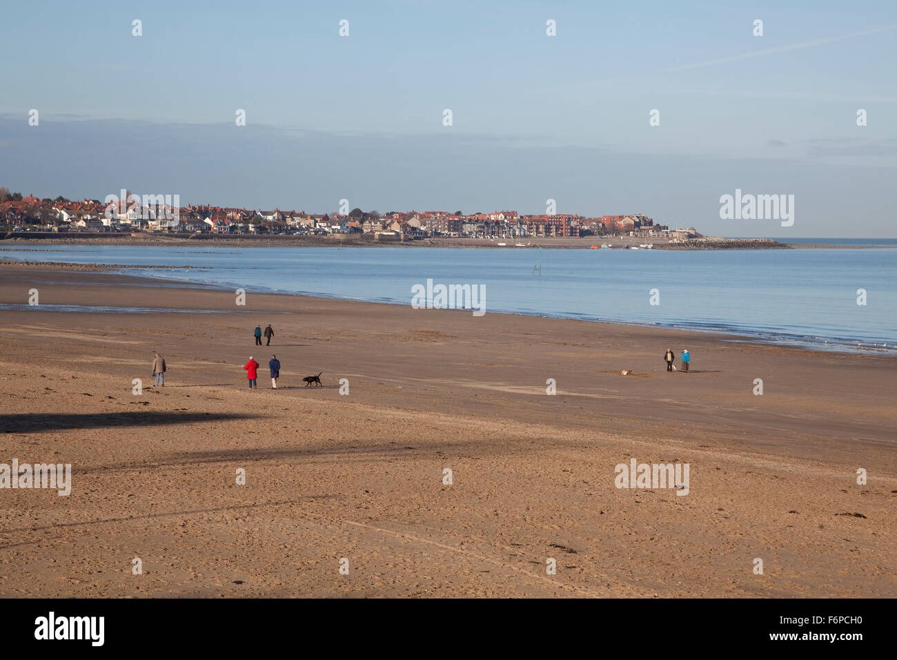 View of Rhos on Sea across the sandy beach at Colwyn Bay in North Wales - Stock Image