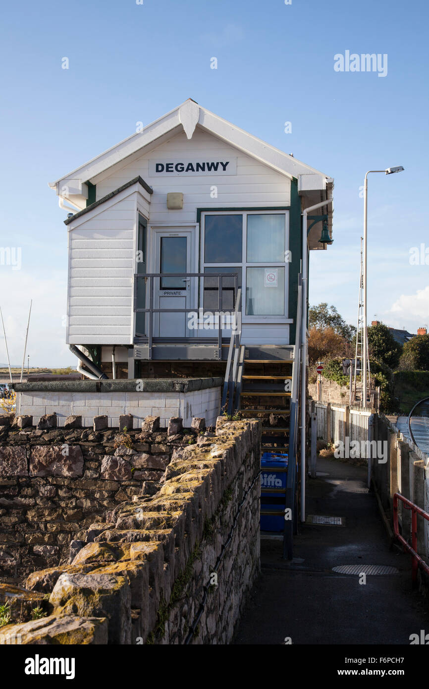 Old fashioned British railway signal box at Deganwy North Wales - Stock Image