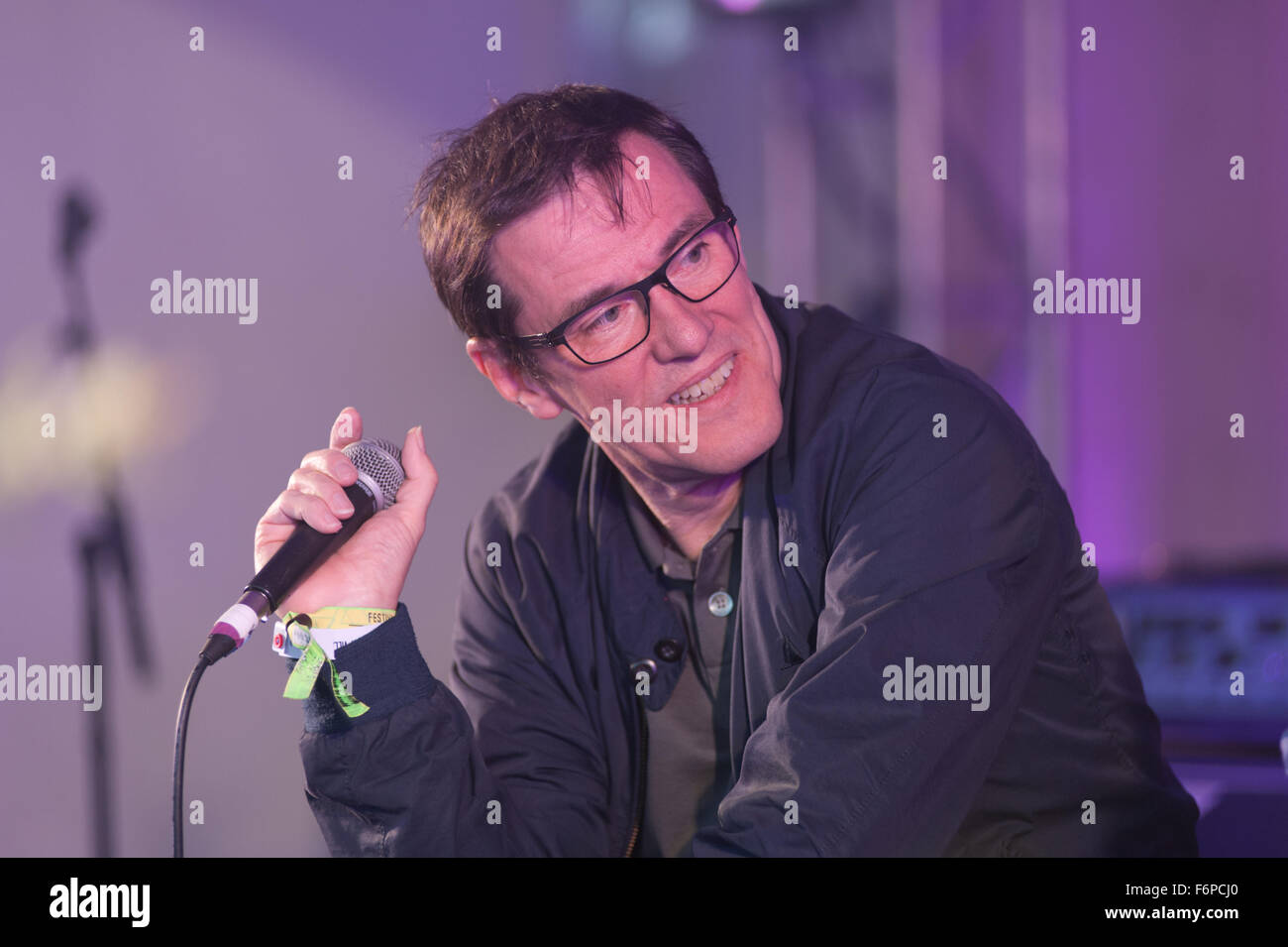Stephen Morris in conversation at Festival No.6 3rd September 2015 Stock Photo