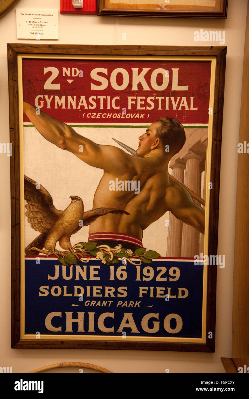 2nd Sokol Gymnastic Festival June 16 1929 at Soldier's Field in Chicago. Czechoslovak Heritage Museum Oak Brook - Stock Image