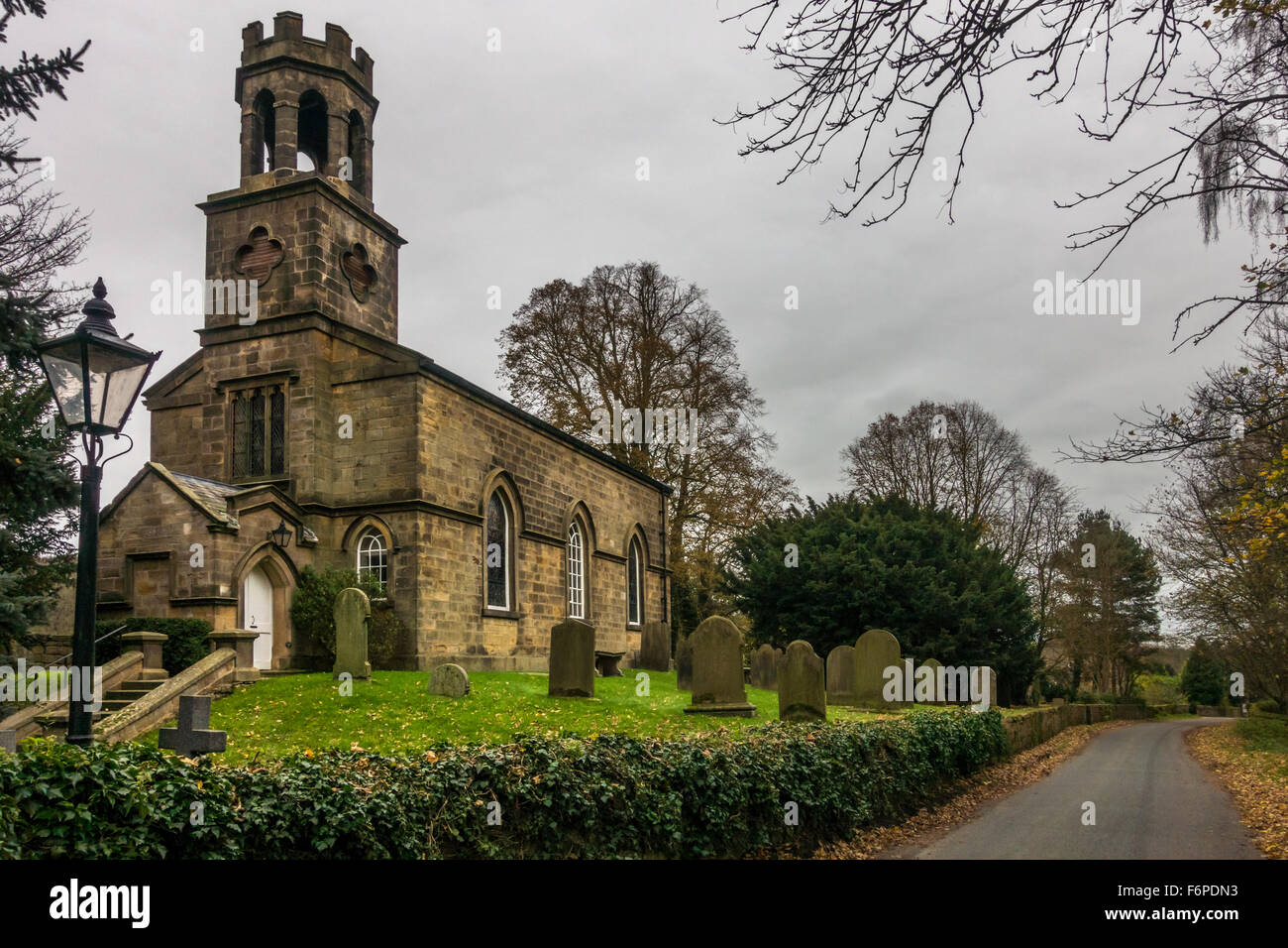 St Helen's Church in Denton, Ilkley, Yorkshire, England. Famous for baptising and christening Sir Thomas Fairfield - Stock Image