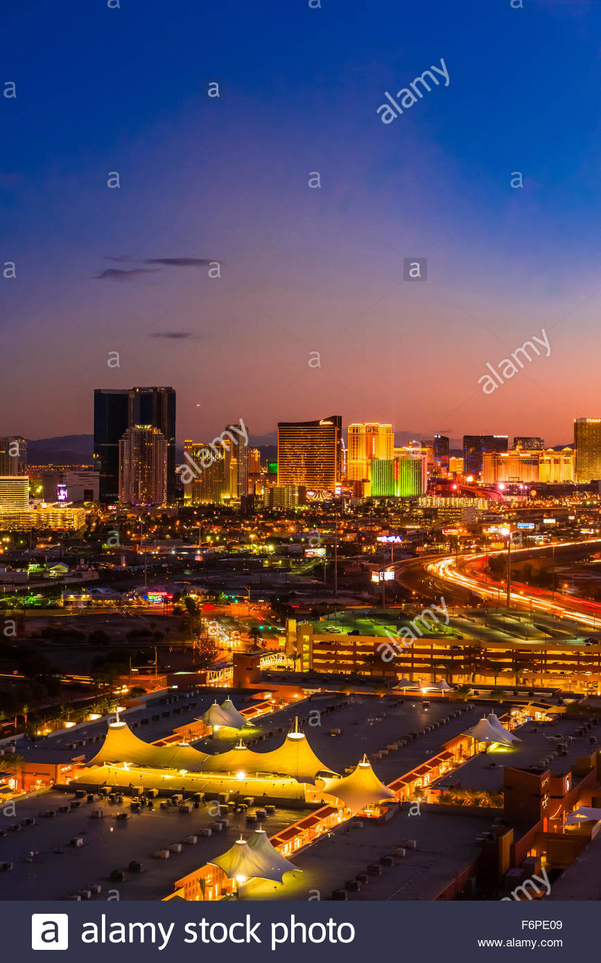 The Strip (Las Vegas Boulevard) and Interstate 15 (on right ), Las Vegas, Nevada USA. - Stock Image
