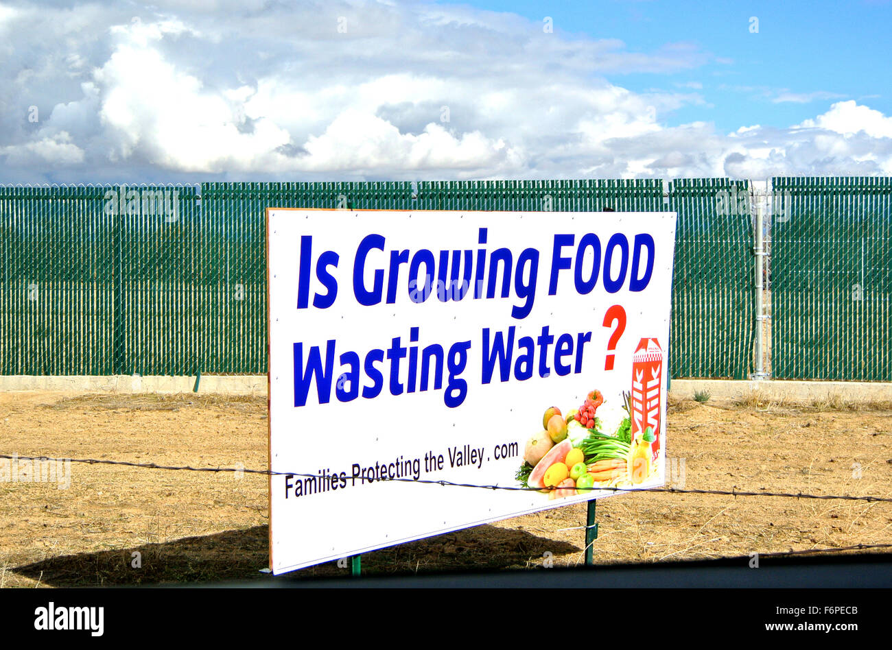 sign protesting water shortage caused by state gov. near frresno in central valley california - Stock Image