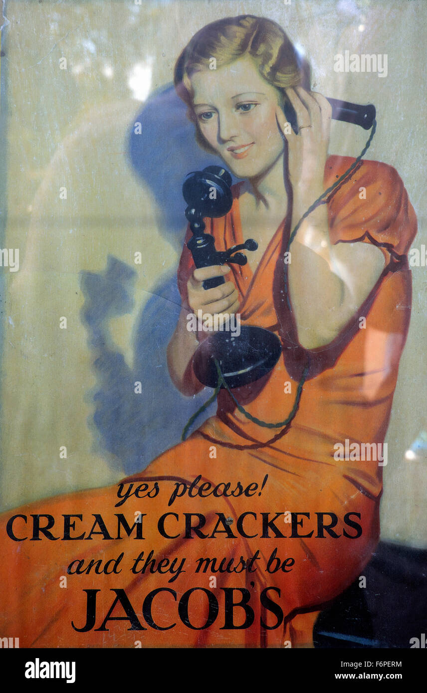 Vintage advertisement poster with woman talking on old