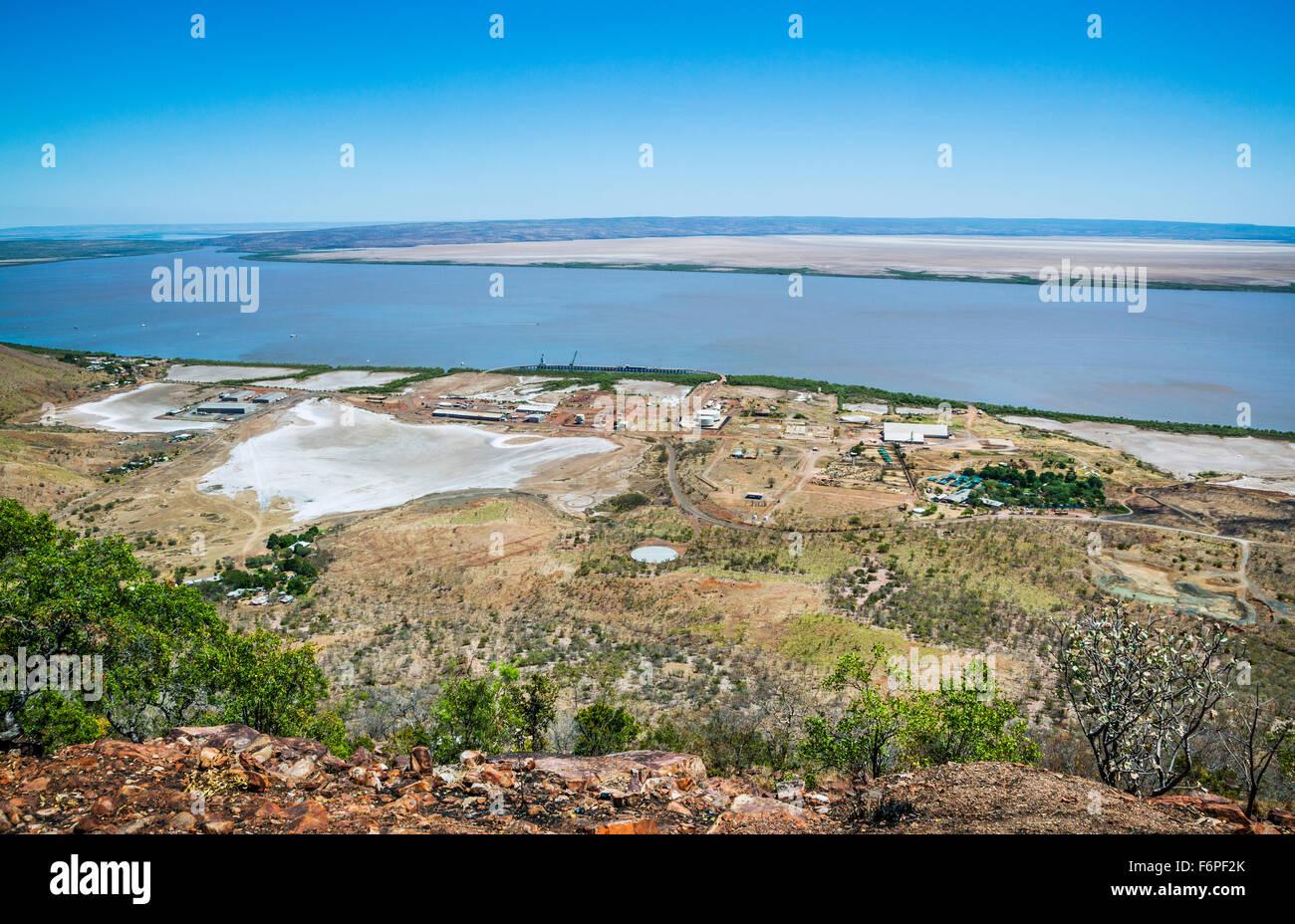 Australia, Western Australia, Kimberley Region, Wyndham, Cambridge Gulf, view of Wyndham Port from West Bastion - Stock Image
