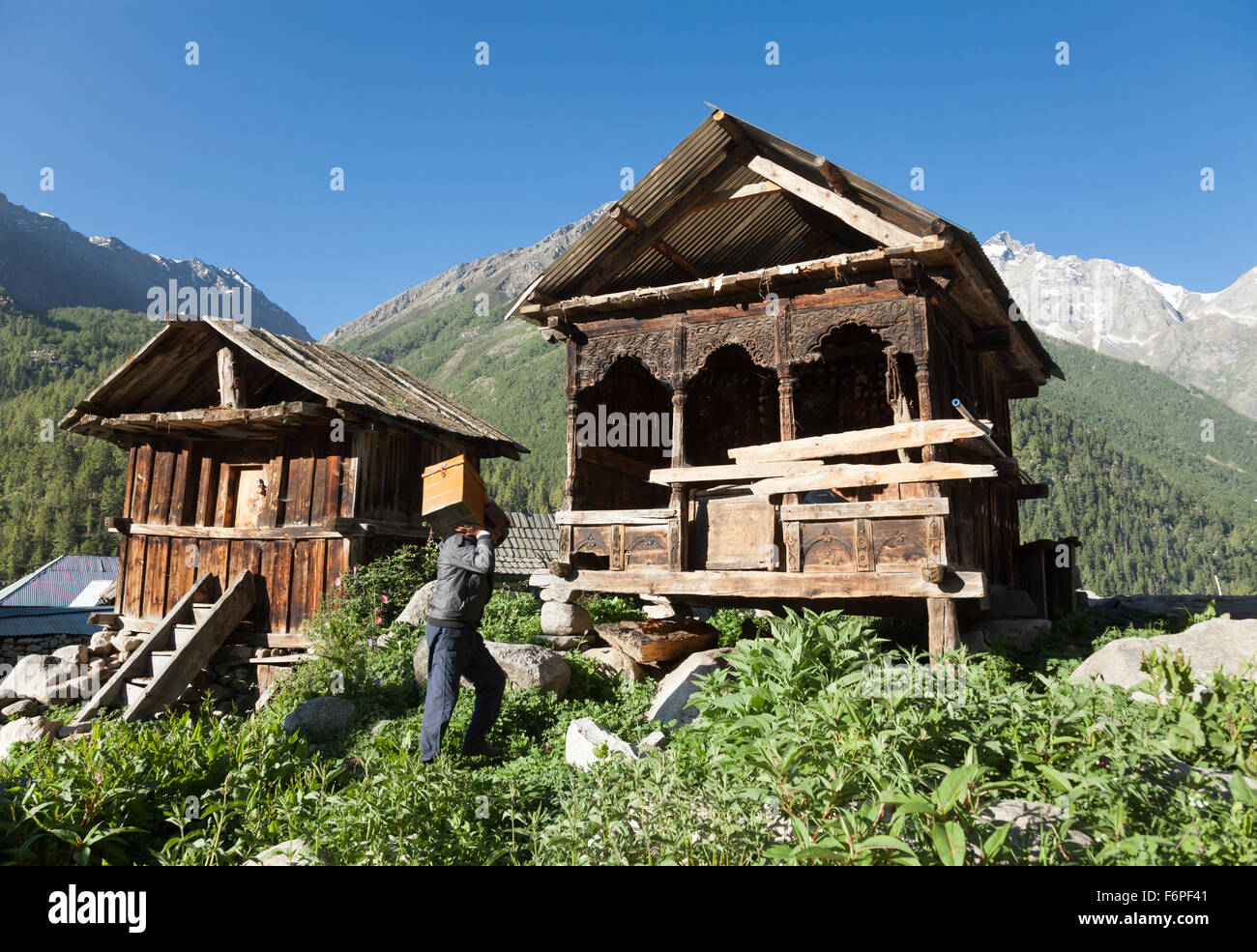The village of Chitkul at the last inhabited village on the Indo-China border Himachal Pradesh, Northern India - Stock Image