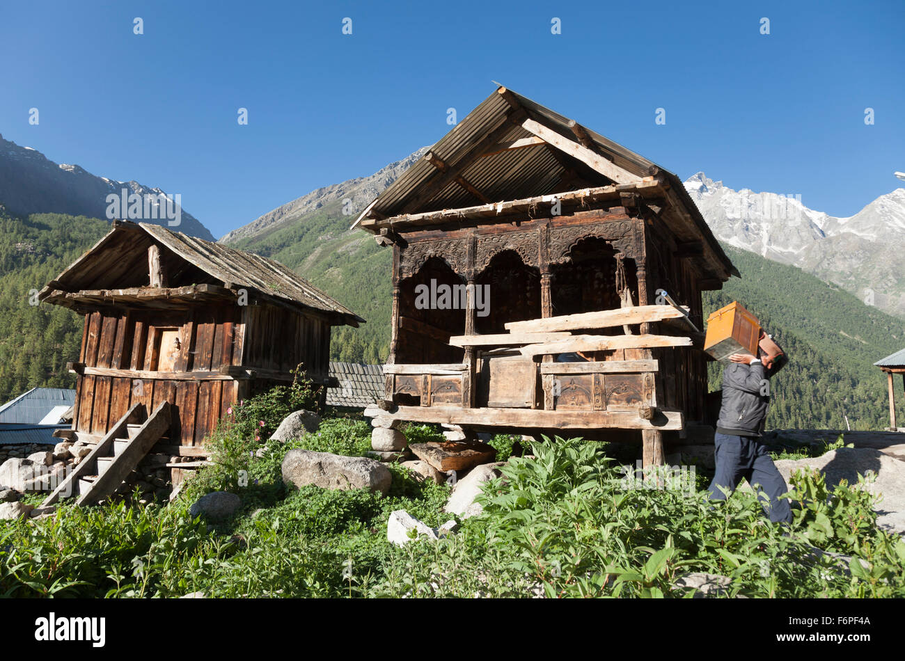 The village of Chitkul at the last inhabited village on the Indo-China border Himachal Pradesh, Northern India Stock Photo