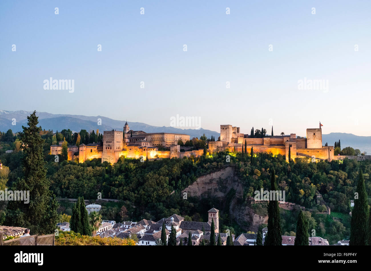 Alhambra palace overview at sunset. Granada, Andalusia, Spain - Stock Image