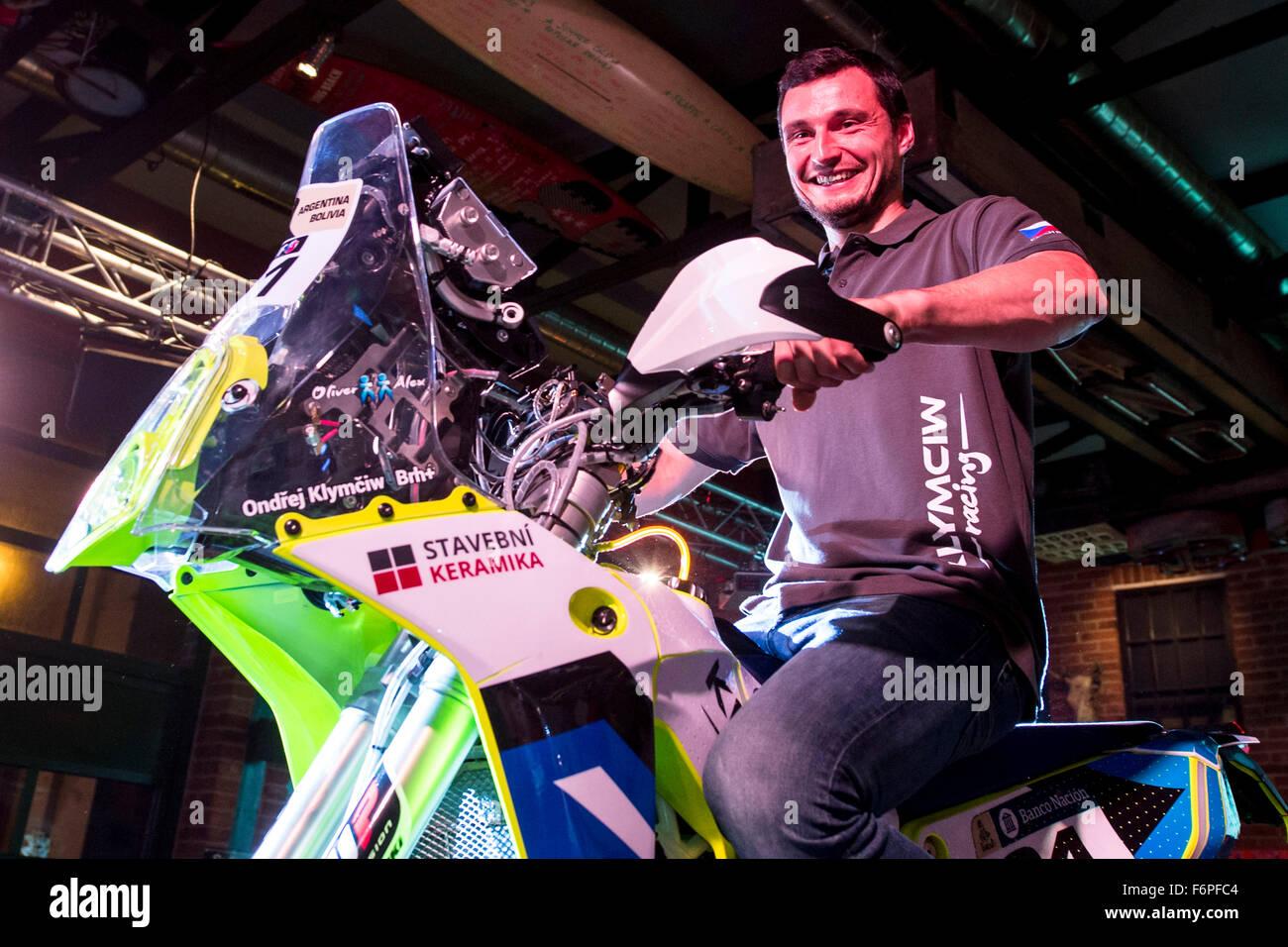 Pardubice, Czech Republic. 18th Nov, 2015. Klymciw Racing Team driver Ondrej Klymciw presents racing motorbike Husqvarna - Stock Image