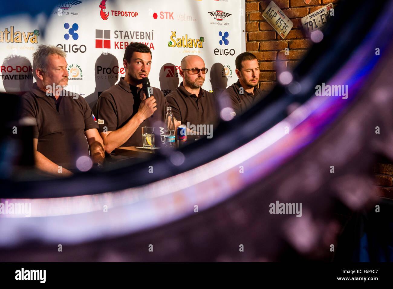 Pardubice, Czech Republic. 18th Nov, 2015. The team Klymciw Racing (from left) Josef Klymciw, Ondrej Klymciw, Ivan - Stock Image