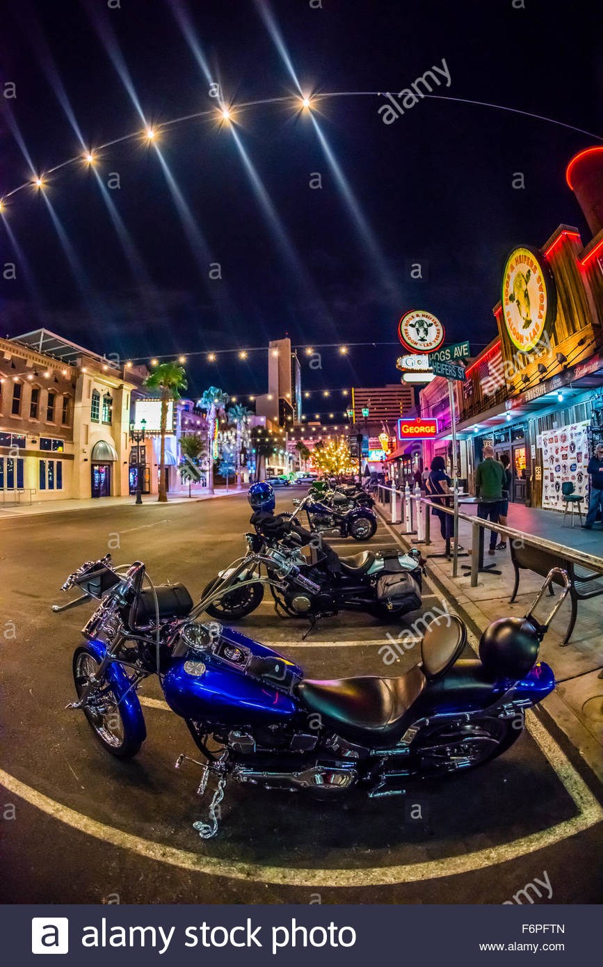 Outside Hogs & Heifers biker bar, Downtown Las Vegas, Nevada USA. - Stock Image