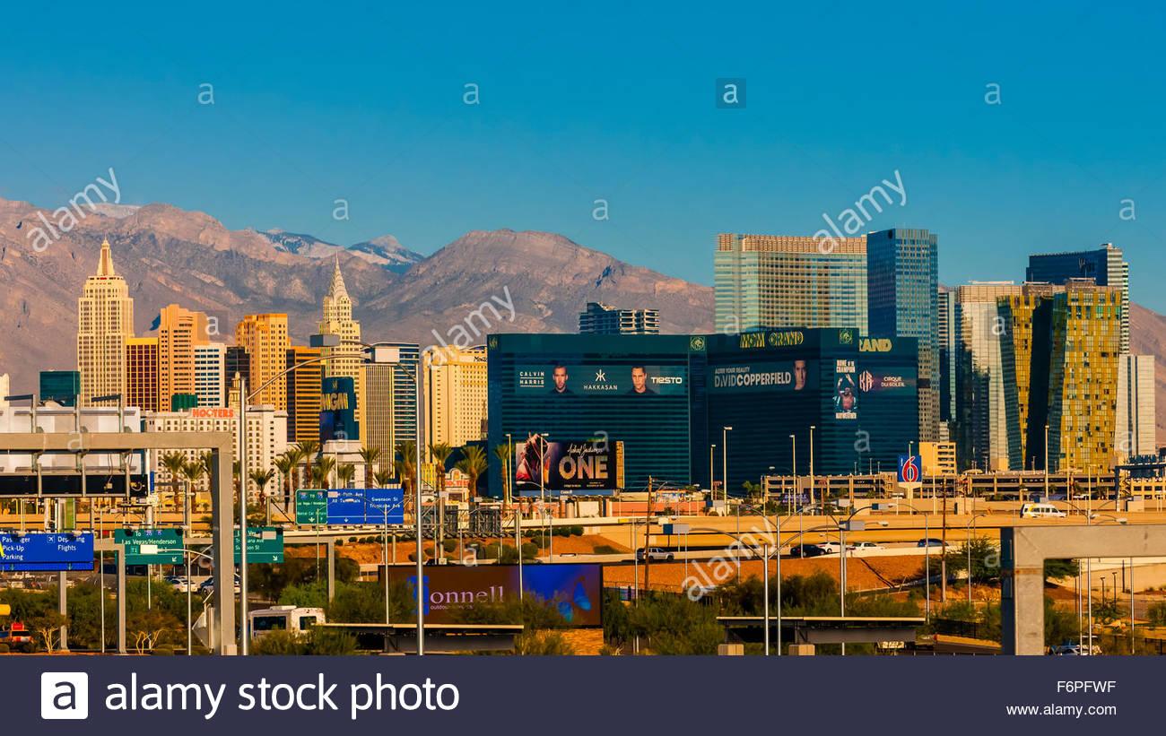 New York New York and the MGM Grand, The Strip,  Las Vegas, Nevada USA. - Stock Image
