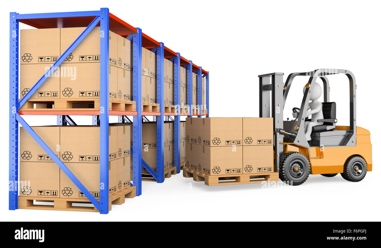 3d white person storing a pallet in a warehouse. 3d image. Isolated white background. - Stock Image