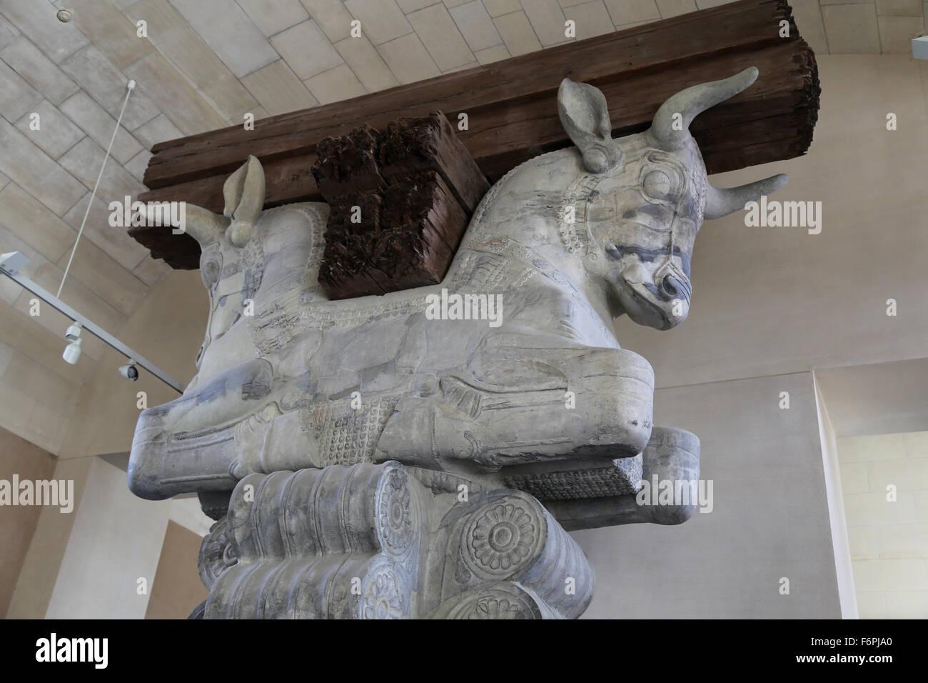 Capital column. Audience Chamber Hall. Apadama. Palace of Darius the Great. 5th century BC. Susa. Iran. Louvre Museum. - Stock Image