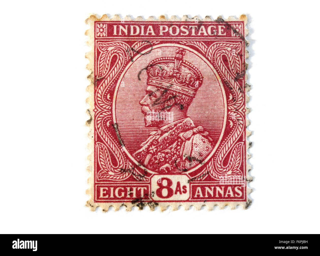 King George V Fifth India Postage Stamp - Stock Image