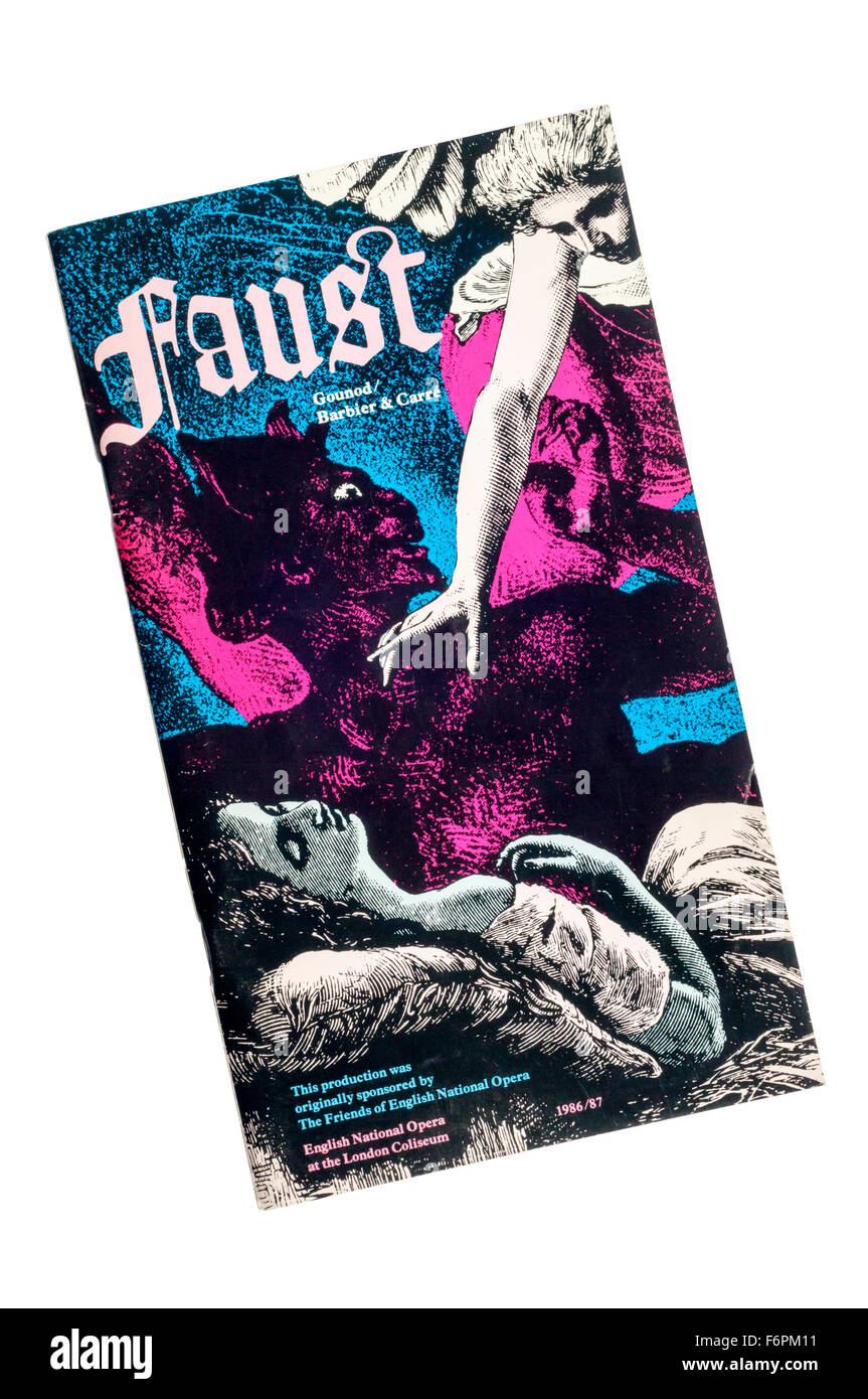 Programme for the 1987 English National Opera production of Faust at The London Coliseum. - Stock Image