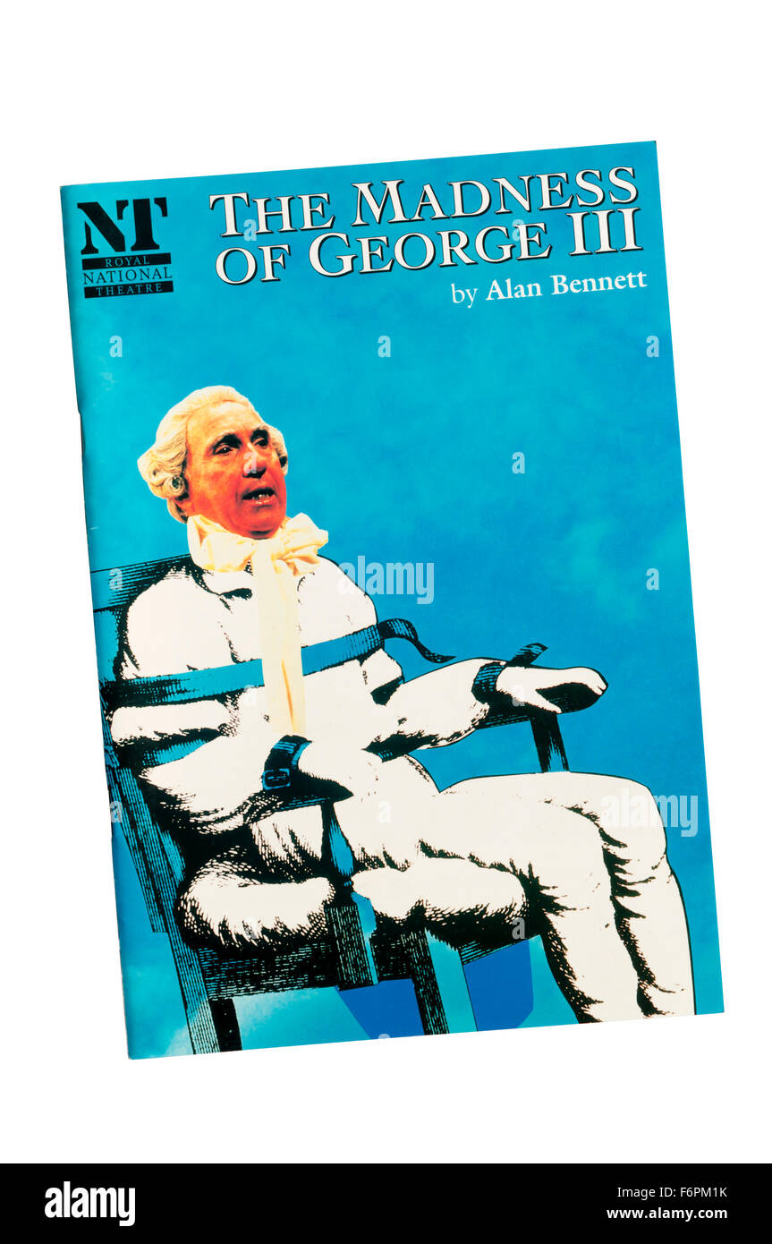 Programme for 1991 production of The Madness of George III by Alan Bennett at the Lyttelton Theatre. - Stock Image