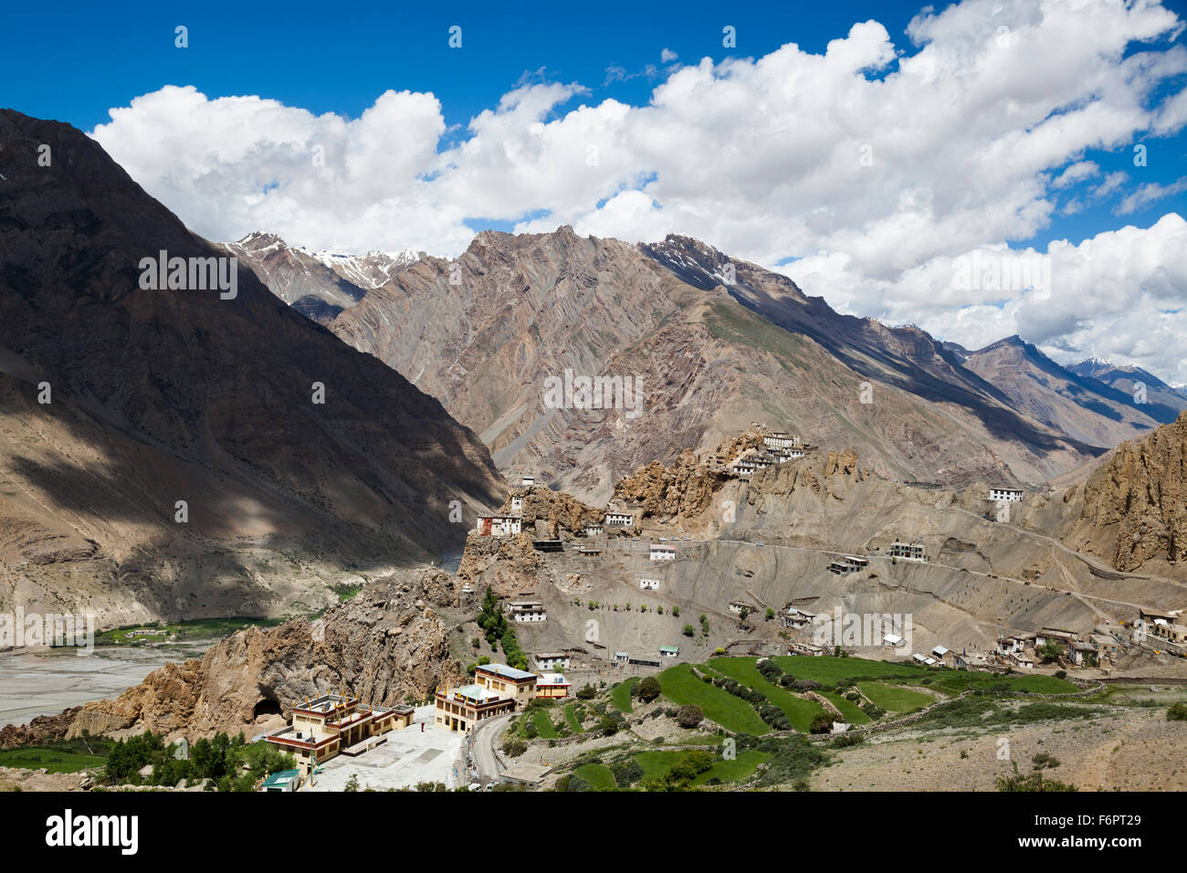 View across the Spiti Valley from Dhankar in the Himalayan region of Himachal Pradesh, India - Stock Image