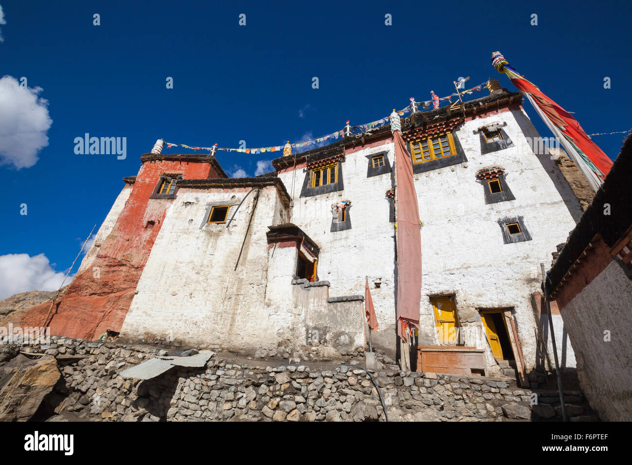 10th century Buddhist monastery at Dhankar in the Himalayan region of Himachal Pradesh, India - Stock Image