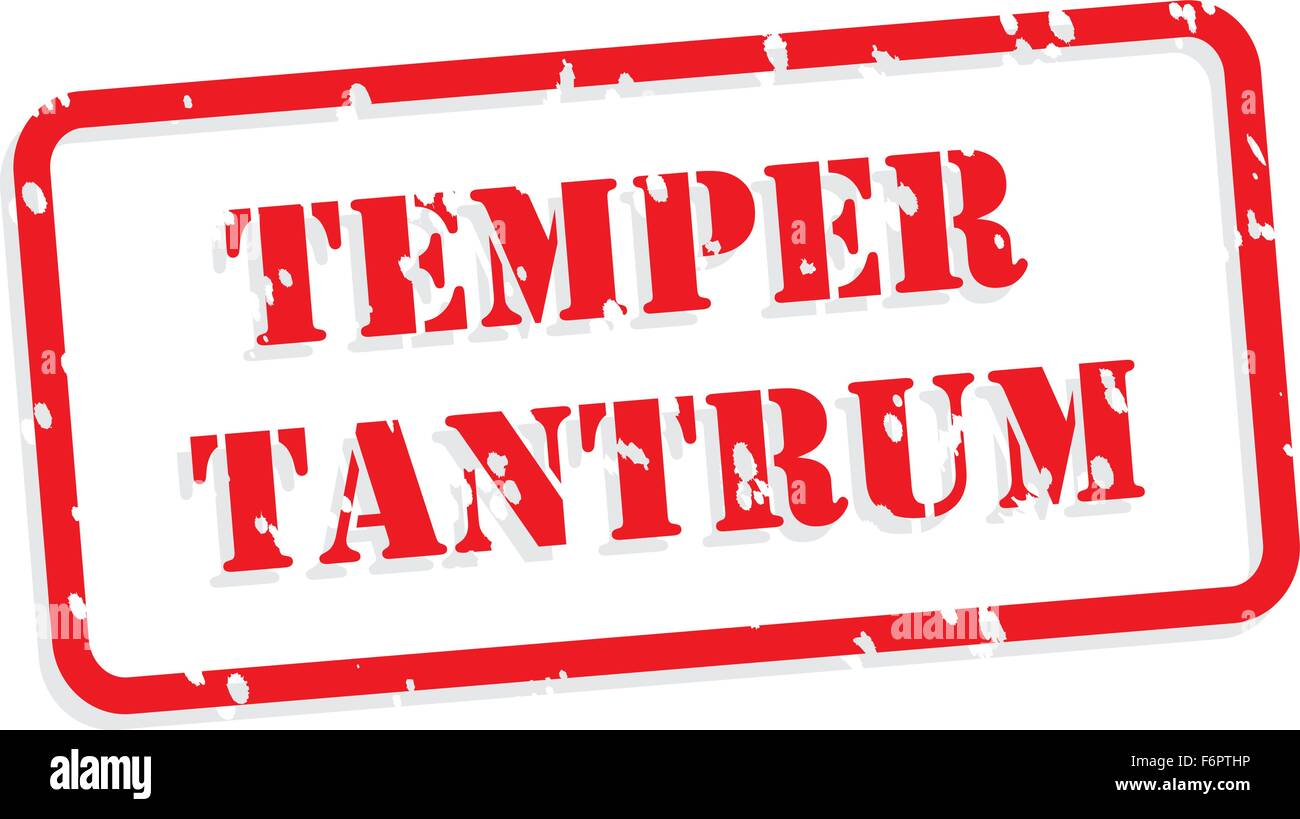 Temper tantrum red rubber stamp vector for mental health concept - Stock Vector