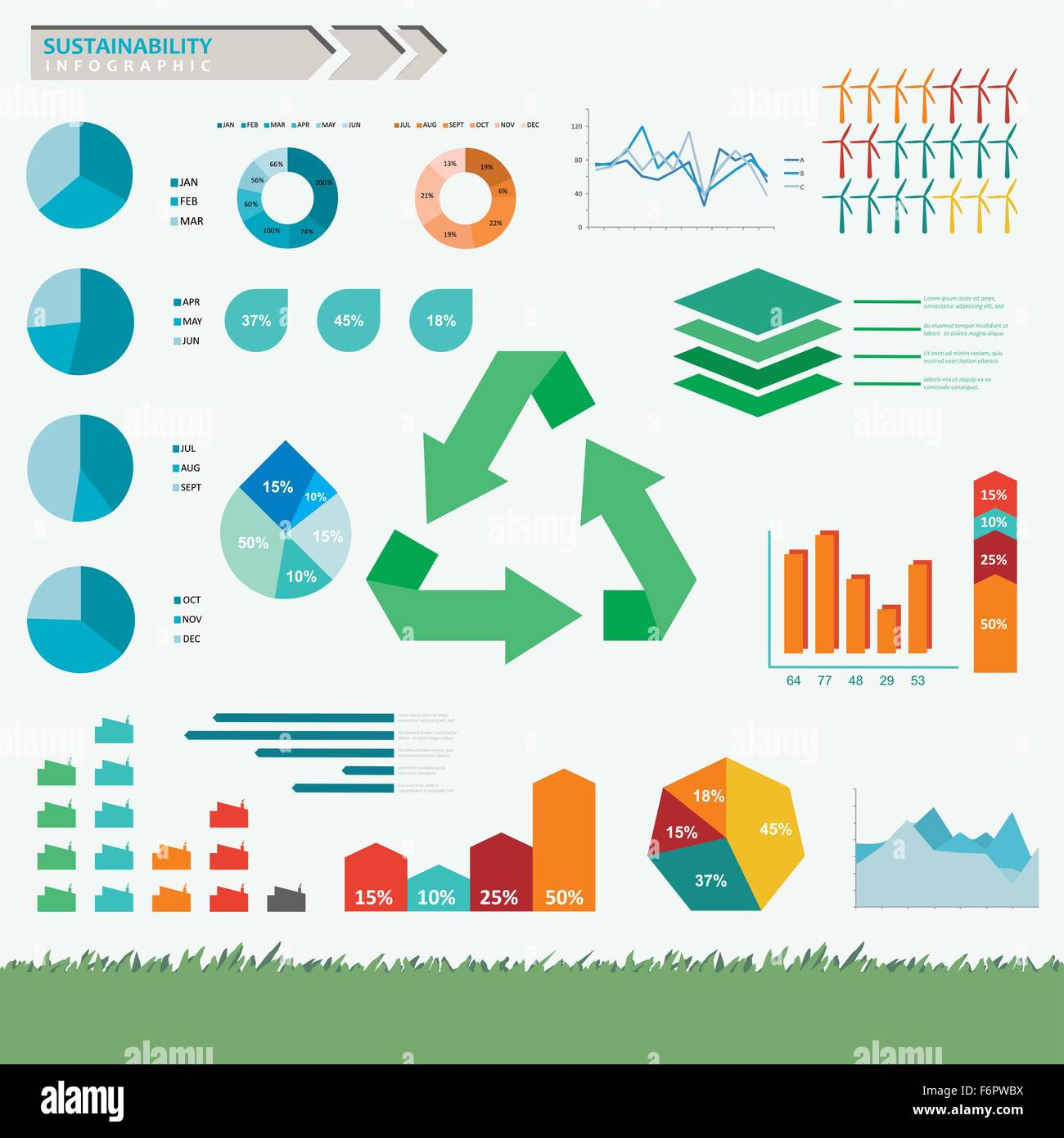 Sustainability and eco friendly infographic set in vector - Stock Image