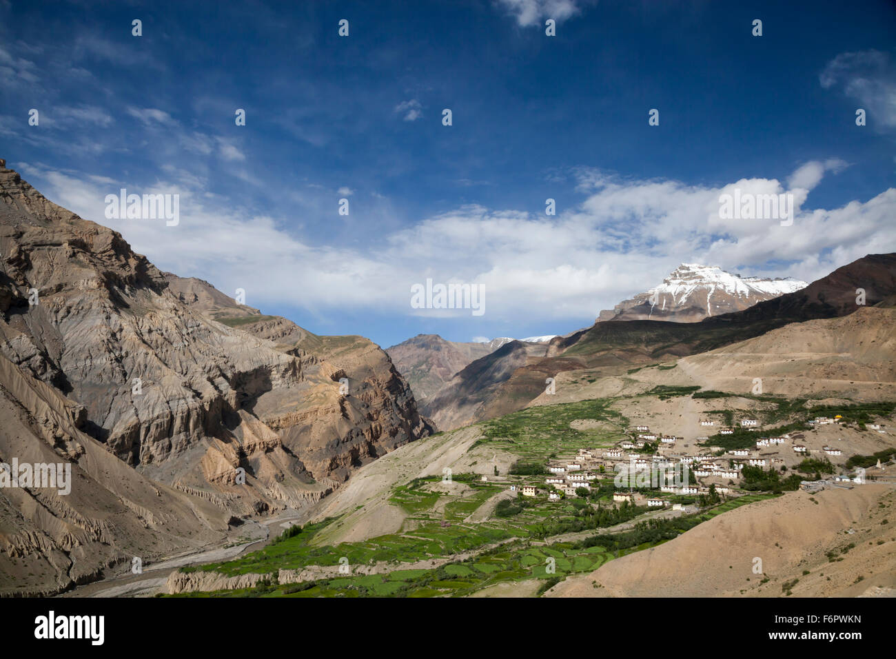 View across the Spiti Valley from Kibber in the Himalayan region of Himachal Pradesh, India - Stock Image