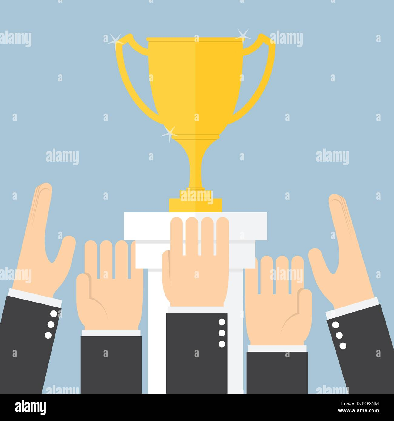 Hands scramble for the trophy, VECTOR, EPS10 - Stock Vector
