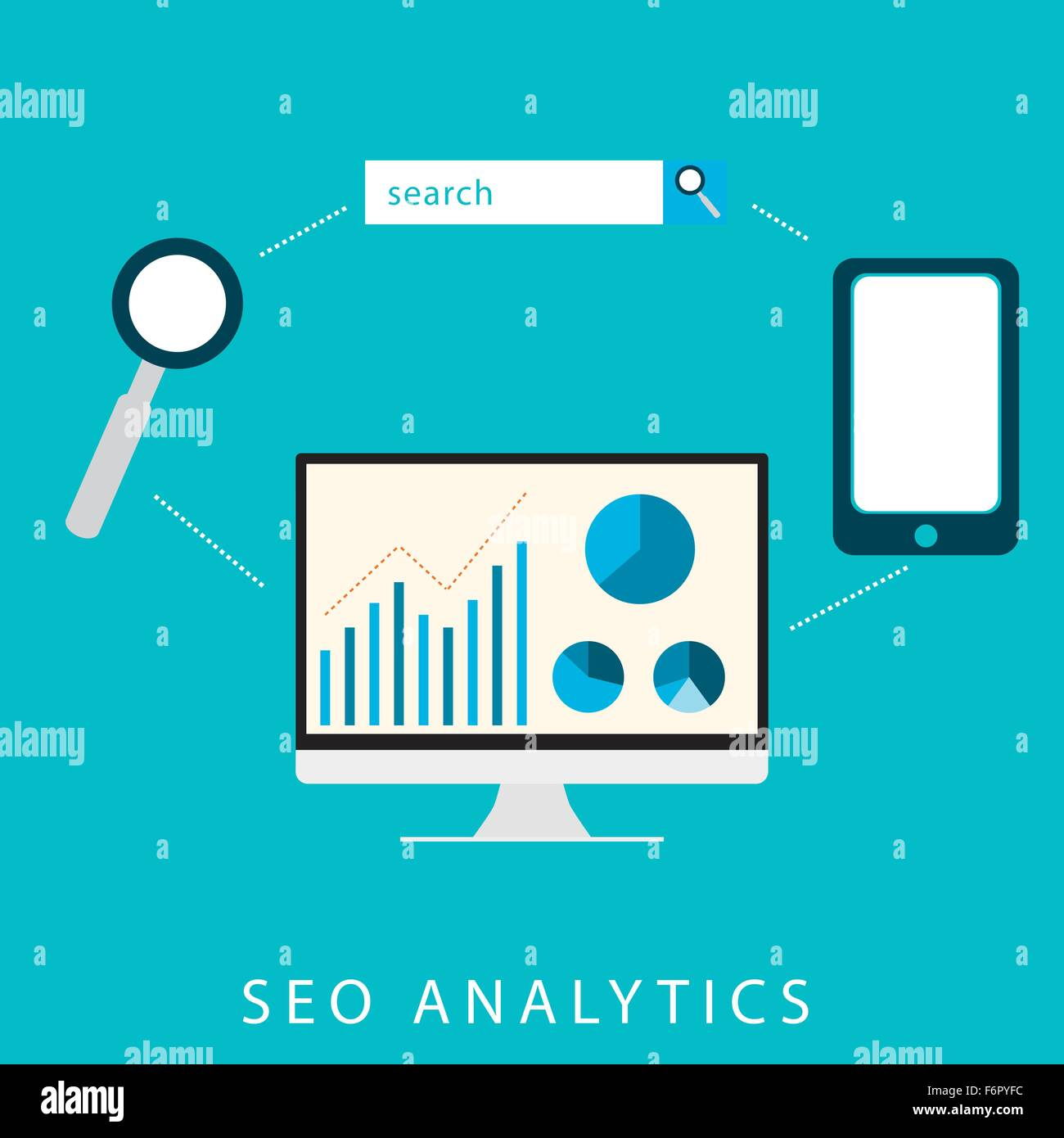 SEO analytics flat graphic design for search engine optimisation concept in vector - Stock Image
