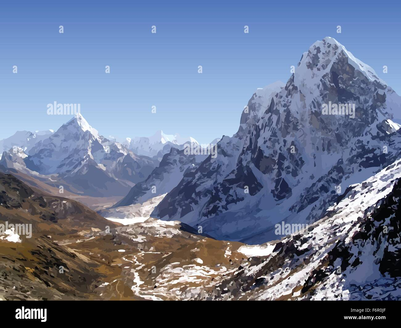 Snow capped mountain peaks in the Himalaya, Nepal in vector - Stock Vector
