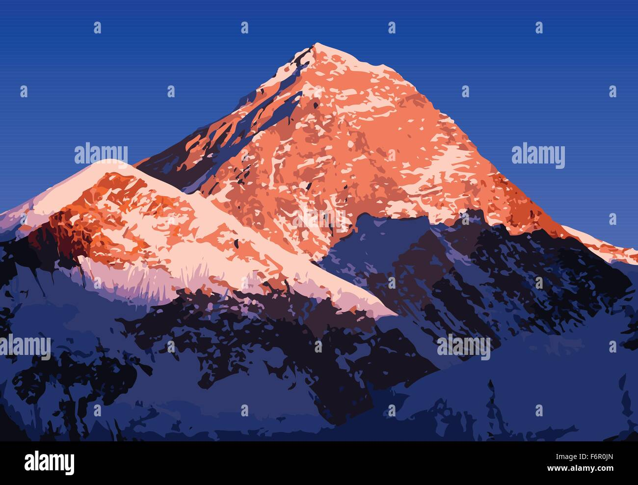 Mount Everest vector, world's highest mountain, in the Himalaya, Nepal - Stock Vector