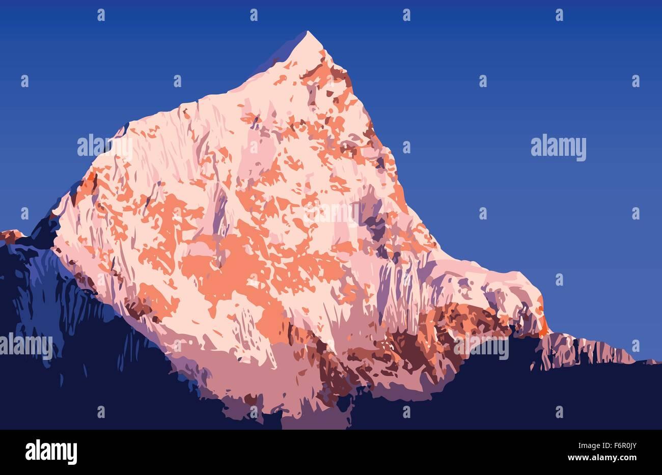 Massive mountains vector in the Nepal Himalaya mountain range - Stock Vector