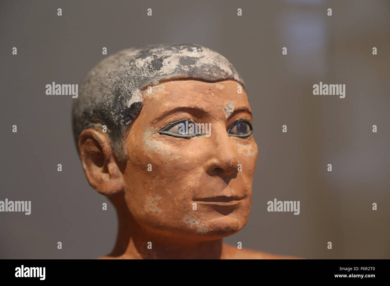 Egyptian art. Seated Scribe. Old Kingdom. 2620-2500 BC. Louvre Museum. Paris. France. - Stock Image