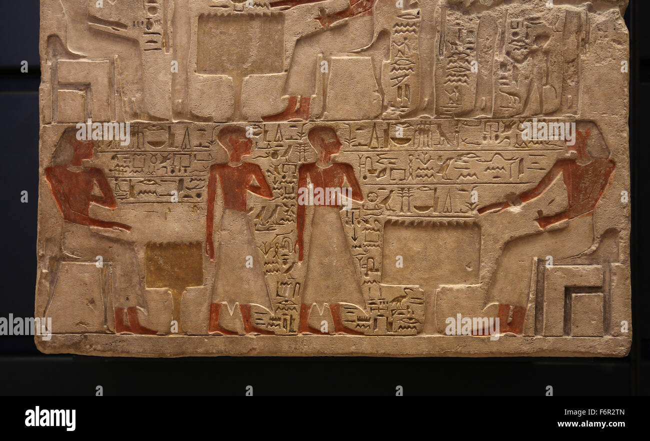 Stele of Sculptor Ibet and family, painted limestone, Middle Kingdom (1975-1640 BC). Louvre Museum. Paris. France. - Stock Image