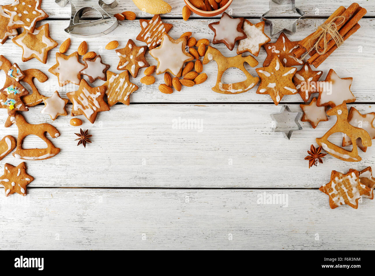 cookies christmas background, white boards - Stock Image